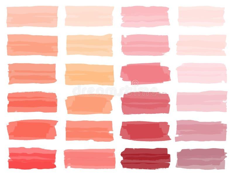 Cursos coloridos da escova da aquarela do vetor ilustração stock