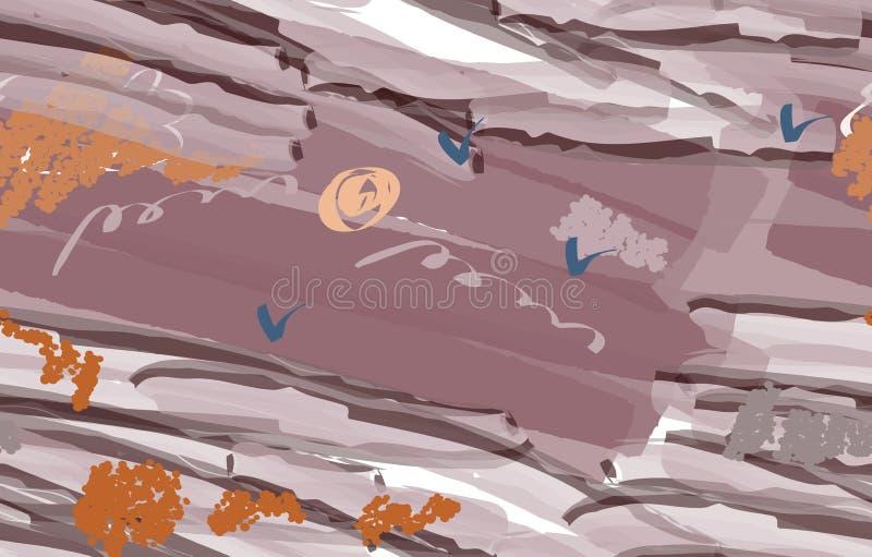 Cursos coloridos da escova da aquarela com pássaros abstratos ilustração stock