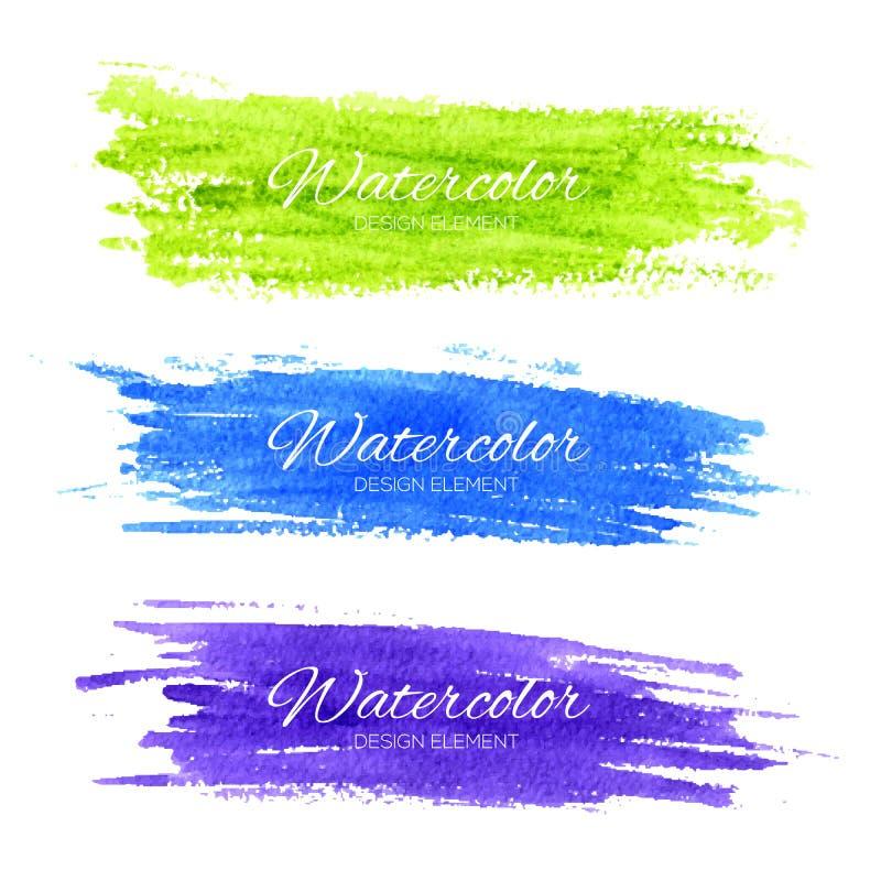 Cursos coloridos da escova da aquarela do vetor ilustração royalty free