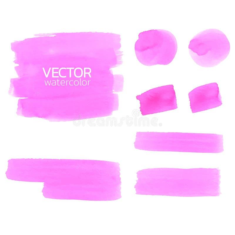 Cursos cor-de-rosa da escova da aquarela Curso da escova do vetor ilustração stock