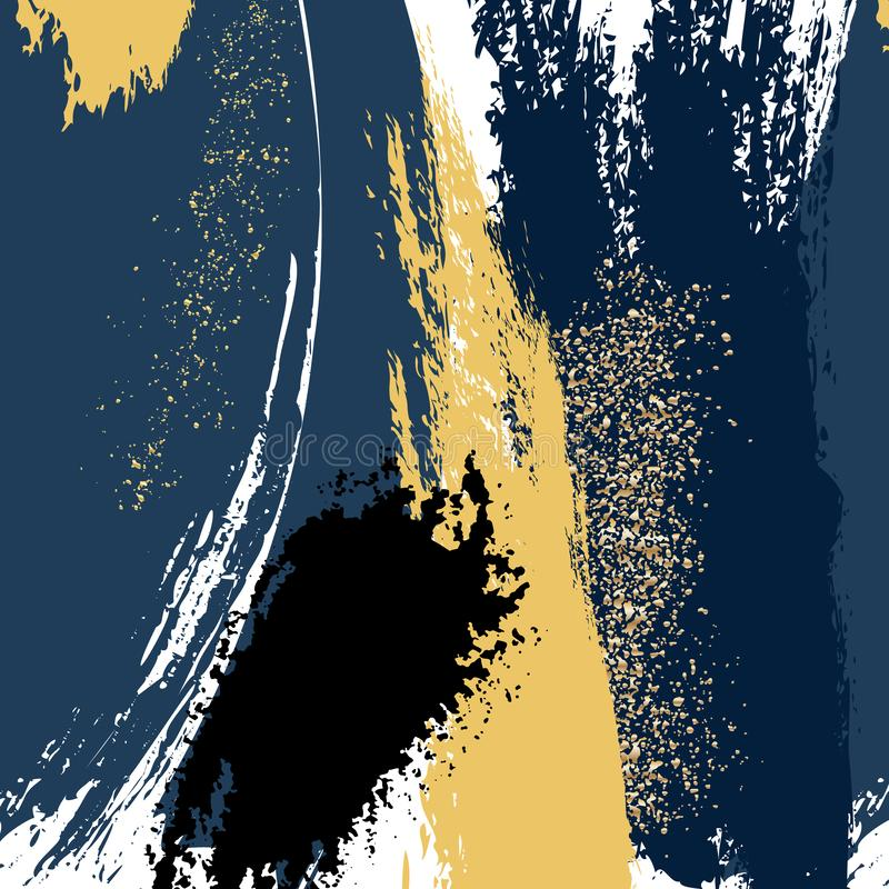 Cursos da escova da aquarela com formas do grunge do ouro da marinha O brilho chapinha o molde macio do cartão Projeto brilhante  ilustração royalty free