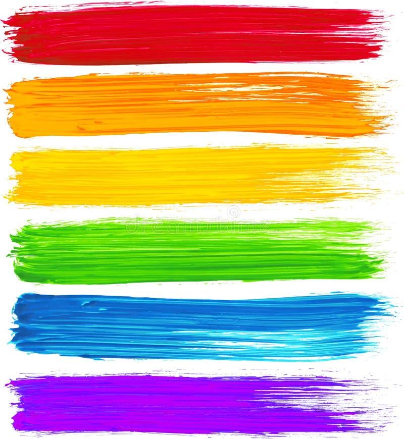 Cursos da escova da aquarela do arco-íris do vetor ilustração royalty free