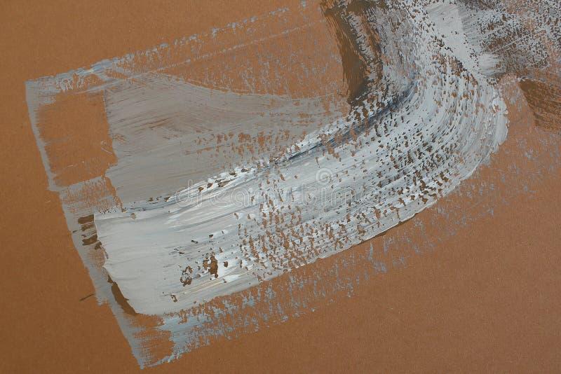 Cursos da escova de Brown na lona Fundo da arte abstrata Textura da cor Fragmento da arte finala Pintura abstrata na lona ilustração royalty free