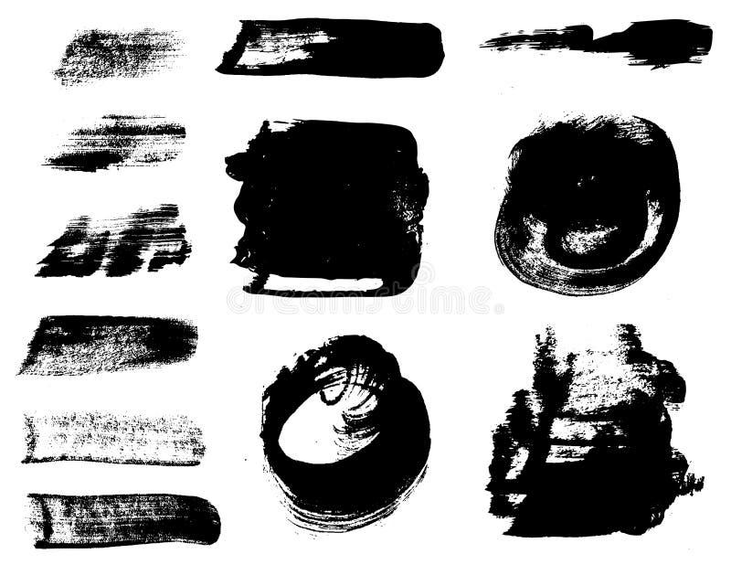 Cursos da escova de pintura ajustados Elementos do projeto de Grunge ilustração do vetor