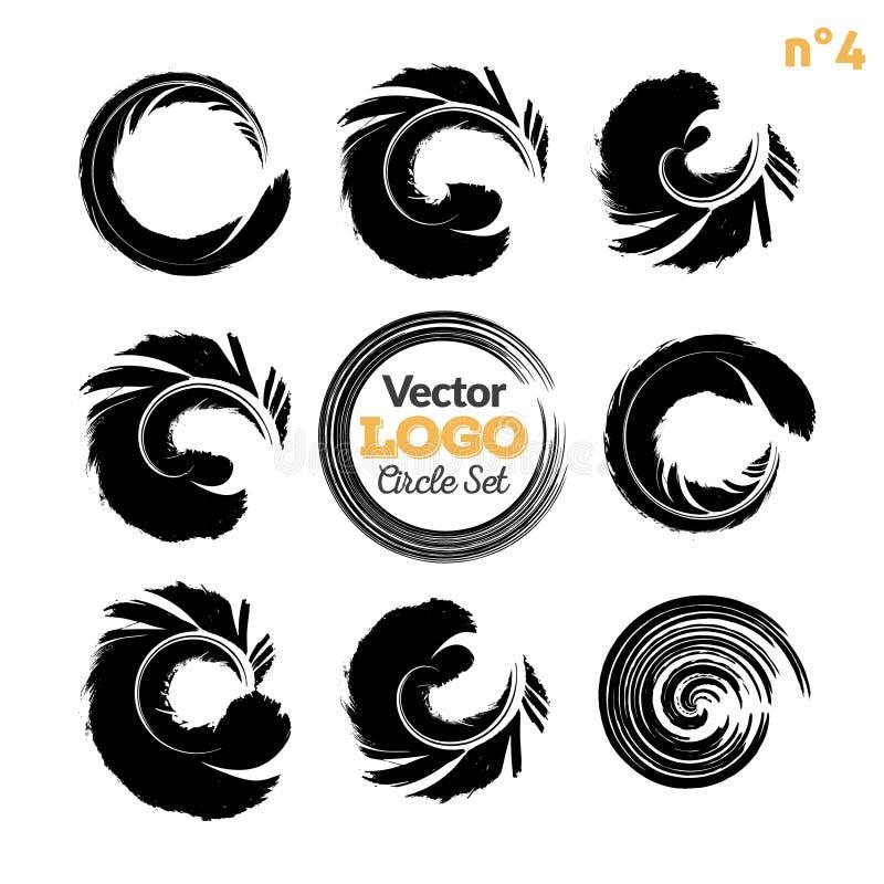 Cursos da escova do círculo do Grunge ajustados Coleção artística feito à mão, molde para o logotipo, negócio, projeto do ícone V ilustração do vetor