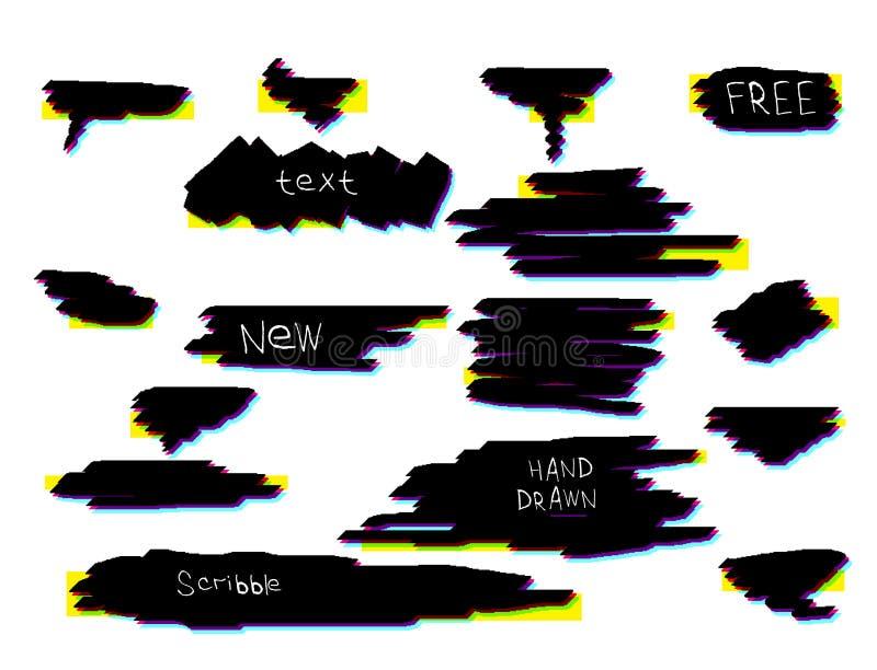 Cursos da escova do Grunge Bandeiras do texto, bolhas do discurso para sua mensagem Elementos artísticos sujos do projeto ilustração stock