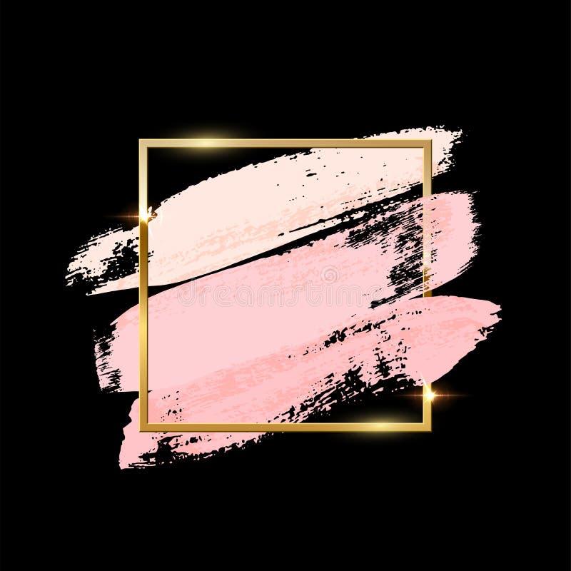 Cursos da escova do rosa pastel com o quadro quadrado dourado isolado no fundo preto Elementos do projeto do vetor ilustração do vetor