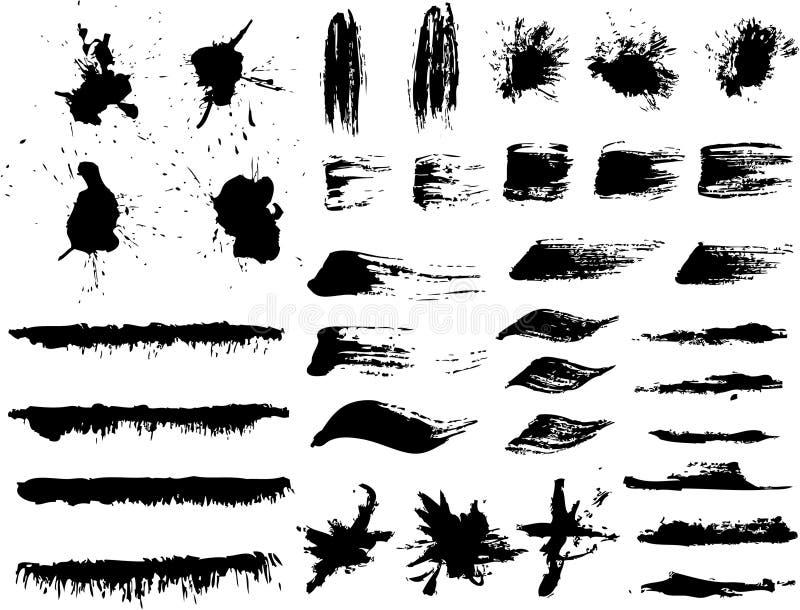 Cursos da tinta e da escova ilustração royalty free