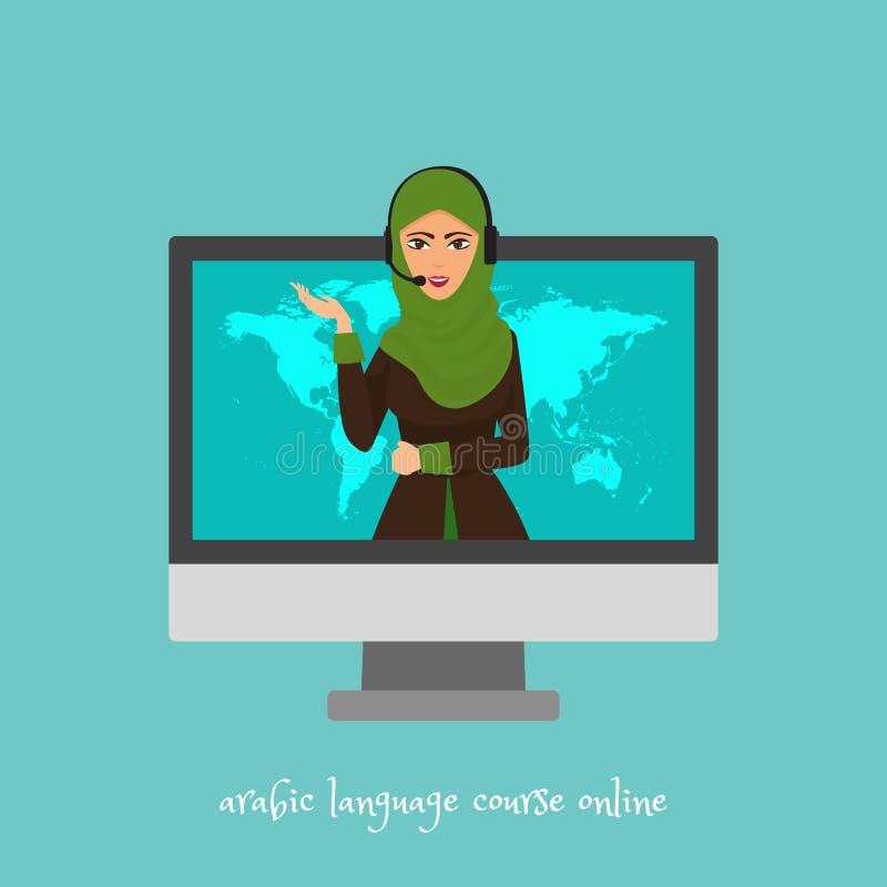 Cursos de línguas árabes em linha, escola ou ilustração do vetor do serviço de tradução Fala árabe da mulher dos desenhos animado ilustração stock