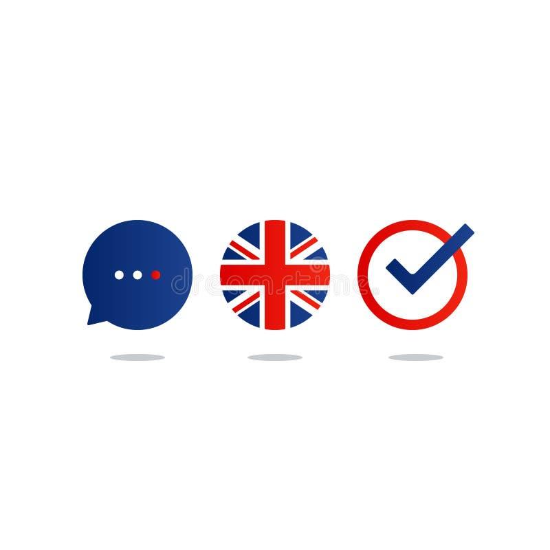 Cursos de línguas inglesas que anunciam o conceito Língua estrangeira faladora fluente ilustração stock