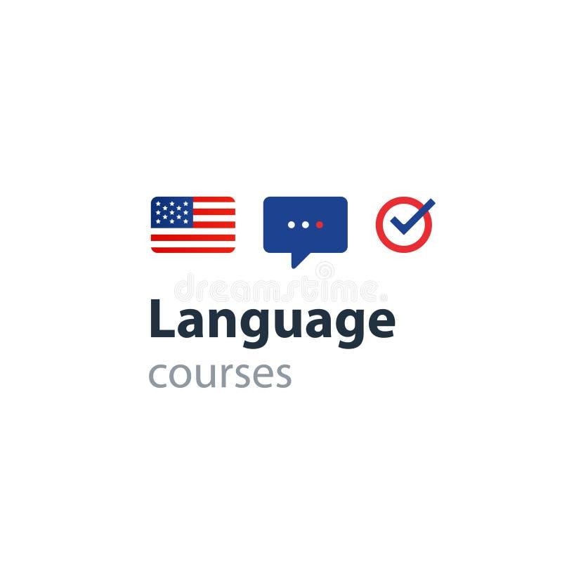 Cursos de línguas inglesas que anunciam o conceito Língua estrangeira faladora fluente ilustração royalty free