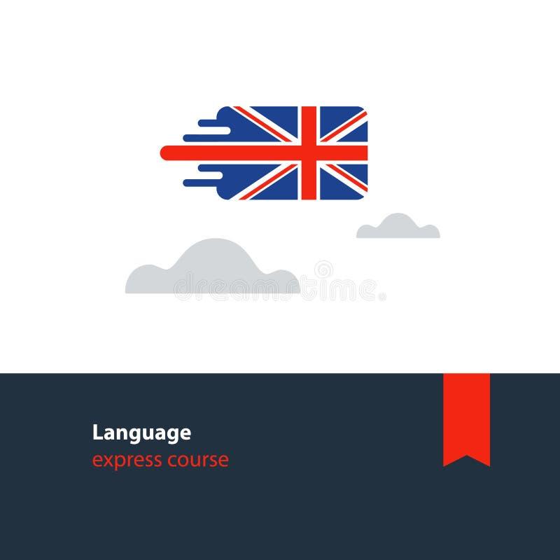 Cursos de l?nguas inglesas que anunciam o conceito L?ngua estrangeira faladora fluente ilustração do vetor