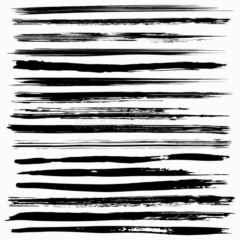 Cursos de tinta preta da escova do vetor ilustração royalty free
