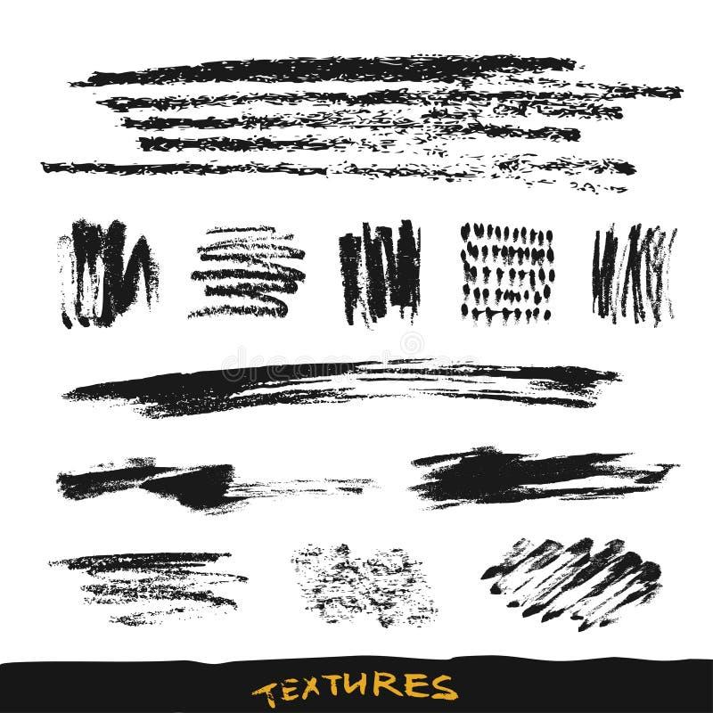 Cursos e manchas da escova da tinta do Grunge Coleção dos elementos do projeto do vetor Texturas tiradas mão ilustração royalty free