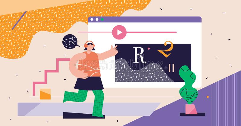 Cursos en línea concepto abstracto moderno ilustración del vector ciberespacio libre illustration