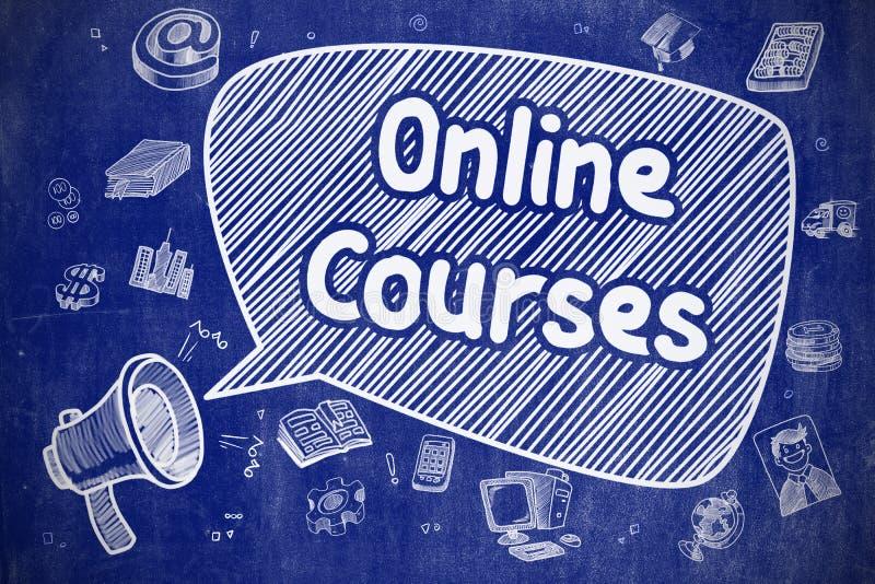 Cursos en línea - ejemplo del garabato en la pizarra azul stock de ilustración