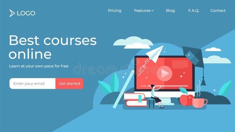 Cursos en línea ilustración de vector minúscula diseño de plantilla de página de inicio stock de ilustración
