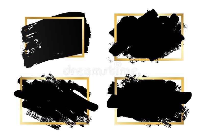 Cursos grupo da escova, caixa de texto do ouro, fundo branco isolado Escova de pintura preta Quadro do curso da textura do Grunge ilustração royalty free