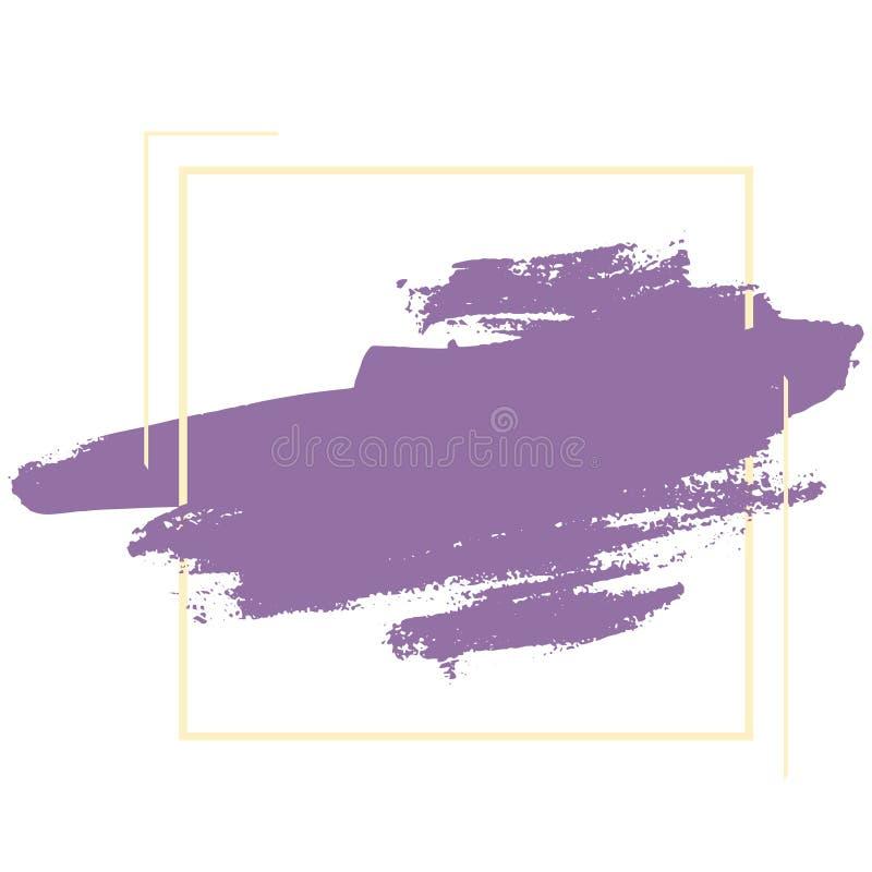 Cursos lilás da escova de cerda do vetor no quadrado amarelo para o fundo do texto ilustração royalty free