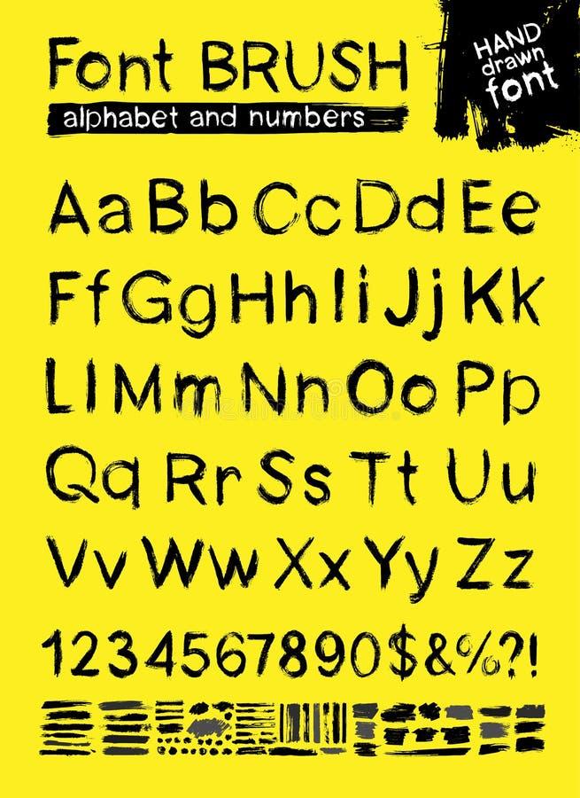 Cursos modernos pintados da escova da fonte de ABC Pintura das manchas do alfabeto e dos números, pulverizador e aquarela Eleme a ilustração do vetor