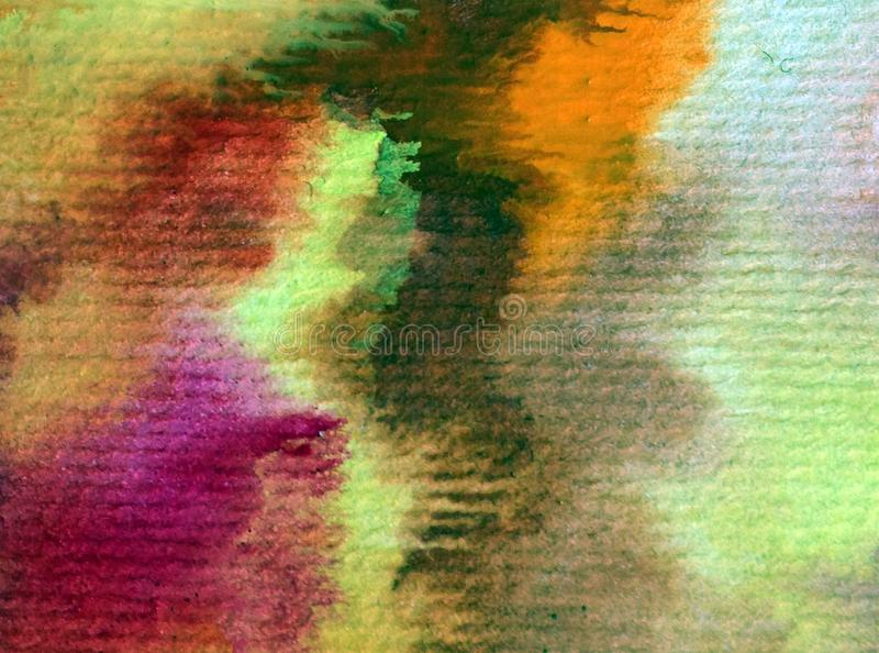 Cursos mornos vermelhos textured coloridos do amarelo alaranjado do outono do sumário do fundo da arte da aquarela imagens de stock
