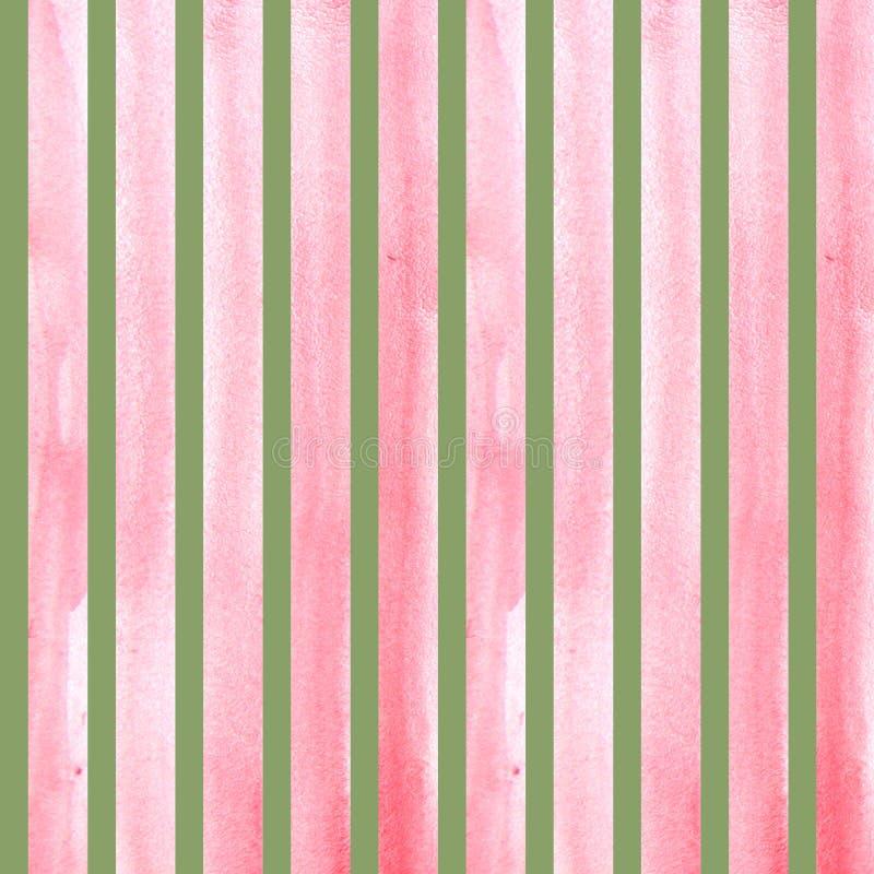 Cursos pintados à mão da escova da aquarela, linha, bandeiras, teste padrão Listras cor-de-rosa isoladas na aquarela verde do fun fotografia de stock