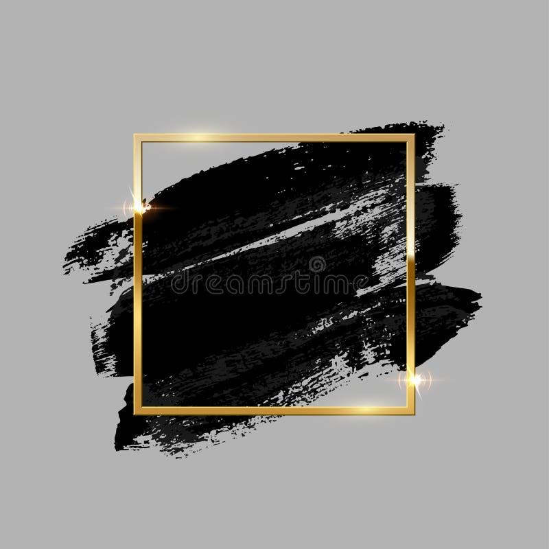 Cursos pretos da escova com quadro quadrado dourado no fundo cinzento Elemento do projeto do vetor ilustração stock