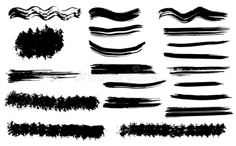 Cursos secos da escova do vetor do Grunge Isolado Grupo tirado mão ilustração royalty free