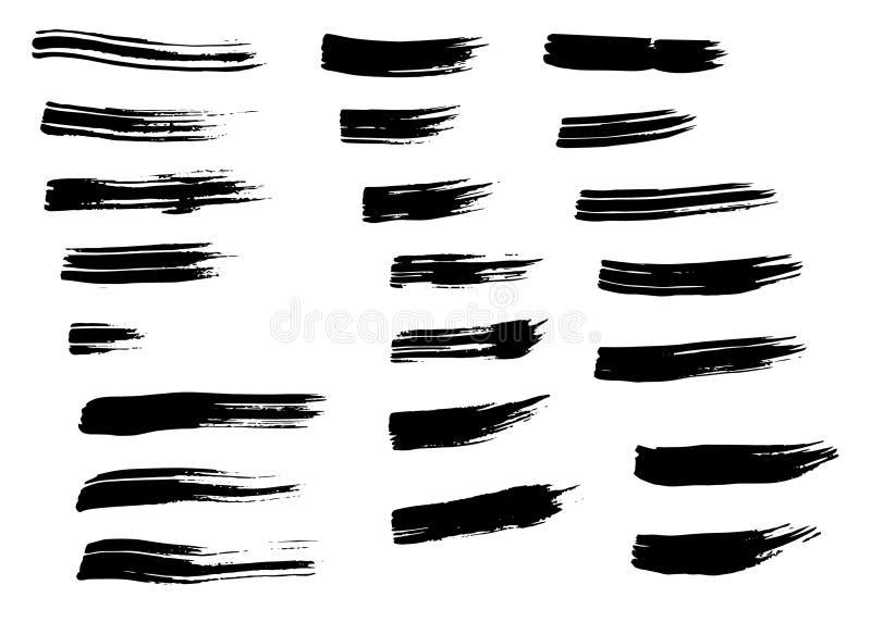 Cursos tirados da escova da mão preta do Grunge isolados Cursos secos diferentes da escova do vetor ilustração stock
