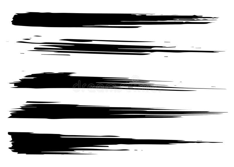 Cursos tirados mão da escova do Grunge ilustração stock