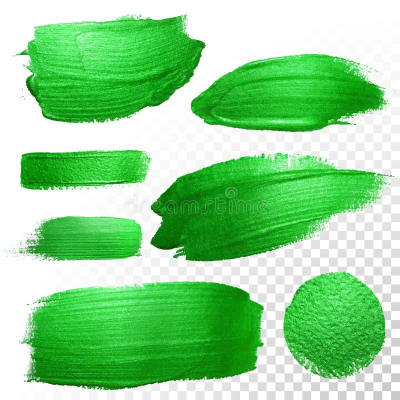 Cursos verdes da escova da aguarela Mancha da pintura de óleo do vetor Traço polonês ilustração do vetor