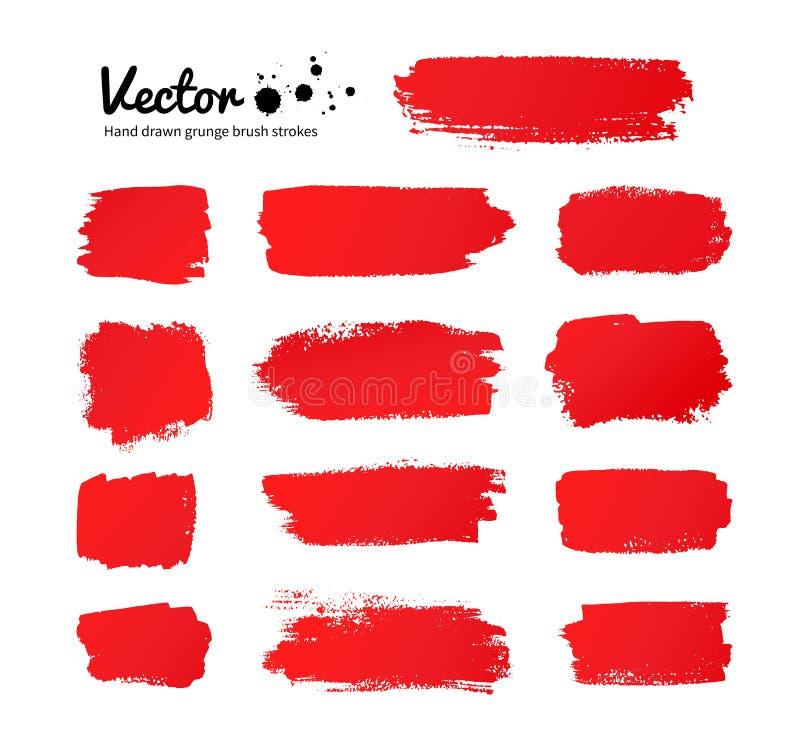 Cursos vermelhos da escova de pintura ilustração stock