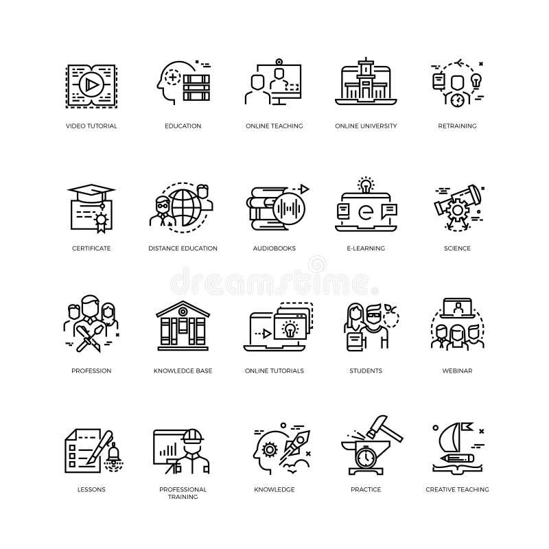 Cursos video, cursos de formação, linha em linha ícones do vetor da educação ajustados ilustração stock