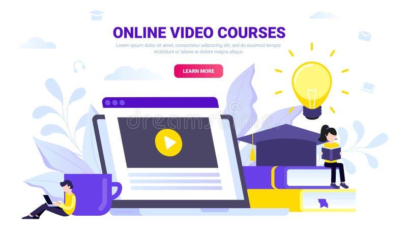 Cursos video en línea, concepto en línea de la educación ilustración del vector