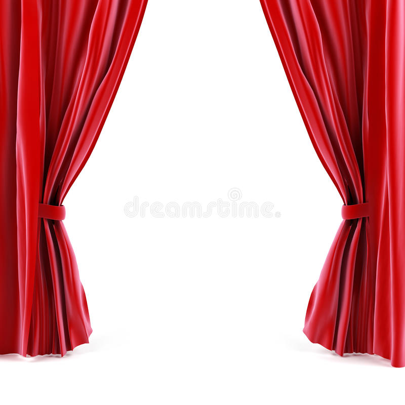 Curtain. Red curtain. 3d generated image