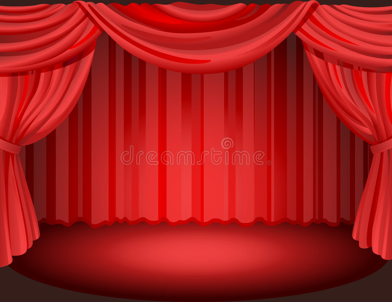 Curtain 2. Vector illustration - Red curtains on a stage royalty free illustration