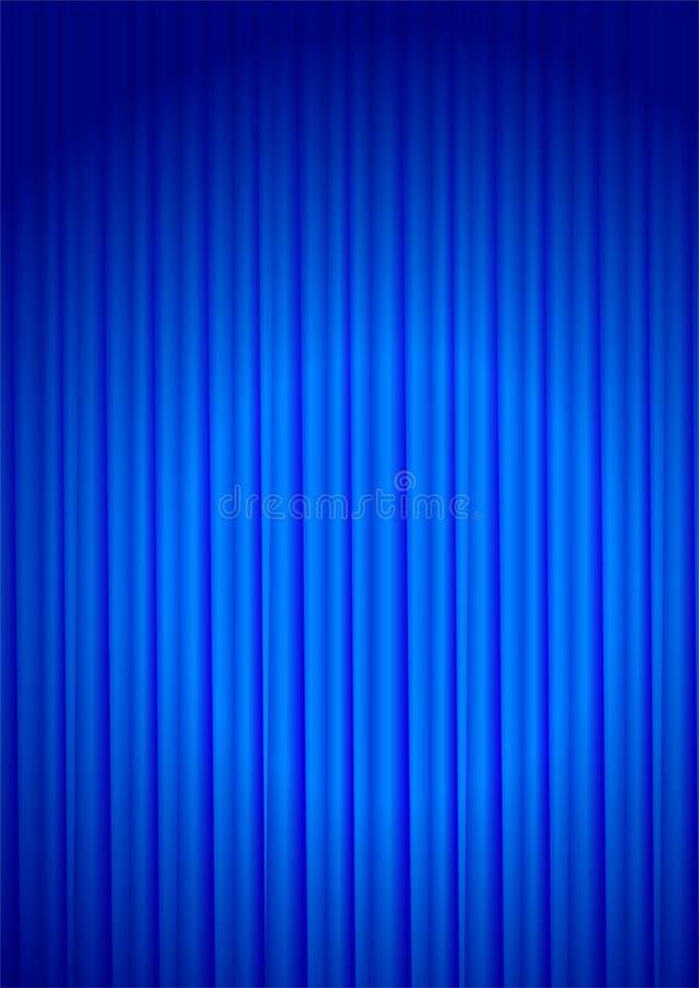 Curtain. Blue velvet theater curtain with center light - vector