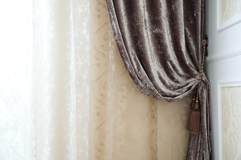 Curtain. Detail of luxury interior curtain royalty free stock photo