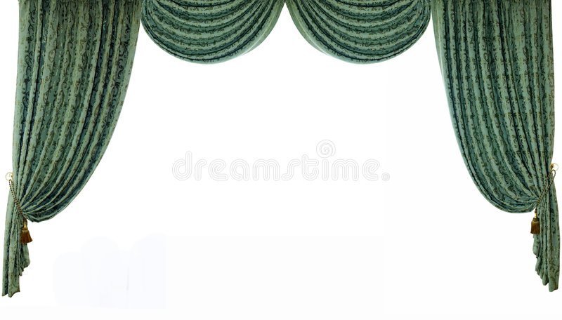 Curtain. Theatrical curtain. Isolated on white royalty free stock photography