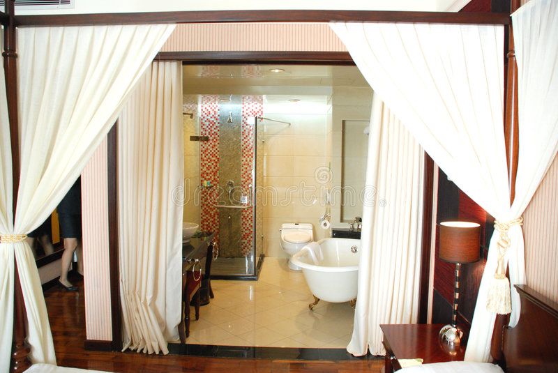curtain bathroom hotel suite stock photo