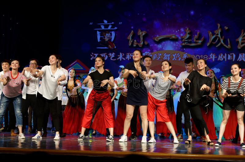 Curtain call-Tail. All the competitors went to the stage to express their joy and enthusiasm with a warm wavy dance. In June 13, 2018, dance dancers from all stock image