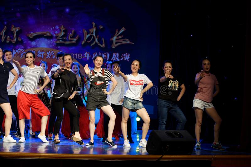 Curtain call-Tail. All the competitors went to the stage to express their joy and enthusiasm with a warm wavy dance. In June 13, 2018, dance dancers from all stock photography