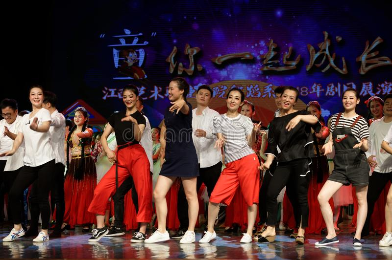 Curtain call-Tail. All the competitors went to the stage to express their joy and enthusiasm with a warm wavy dance. In June 13, 2018, dance dancers from all royalty free stock images