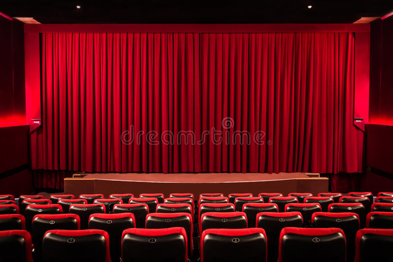 Curtain on the cinema screen royalty free stock image