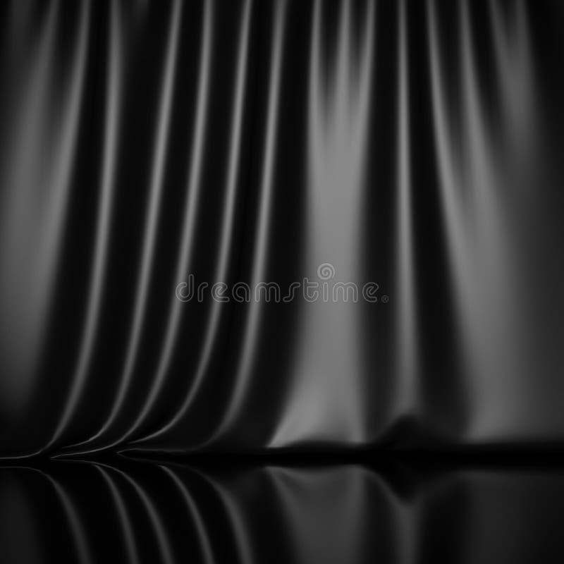 Curtain Drapes Black Silk Fabric Cloth Background Stock