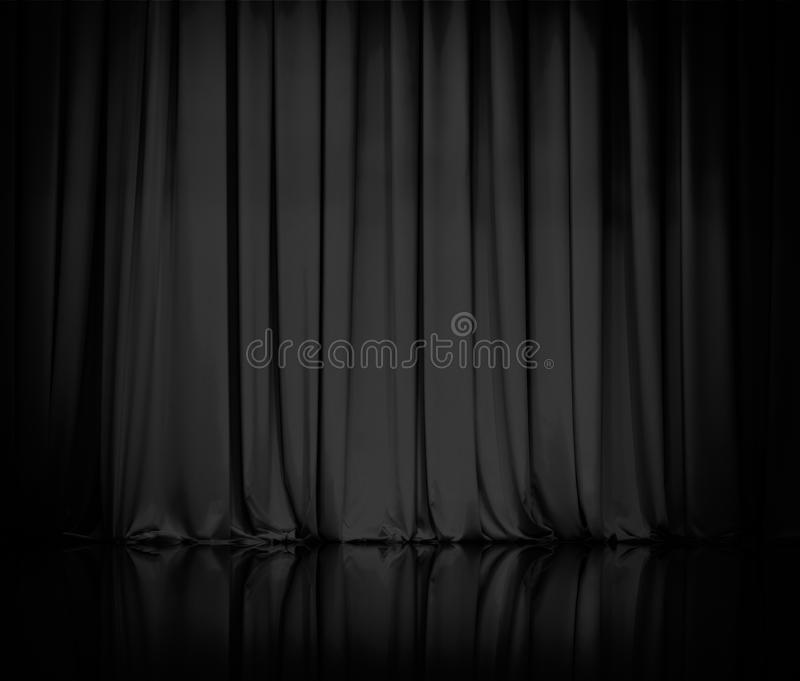 Curtain or drapes black theater background. Curtain or drapes black background stock photography