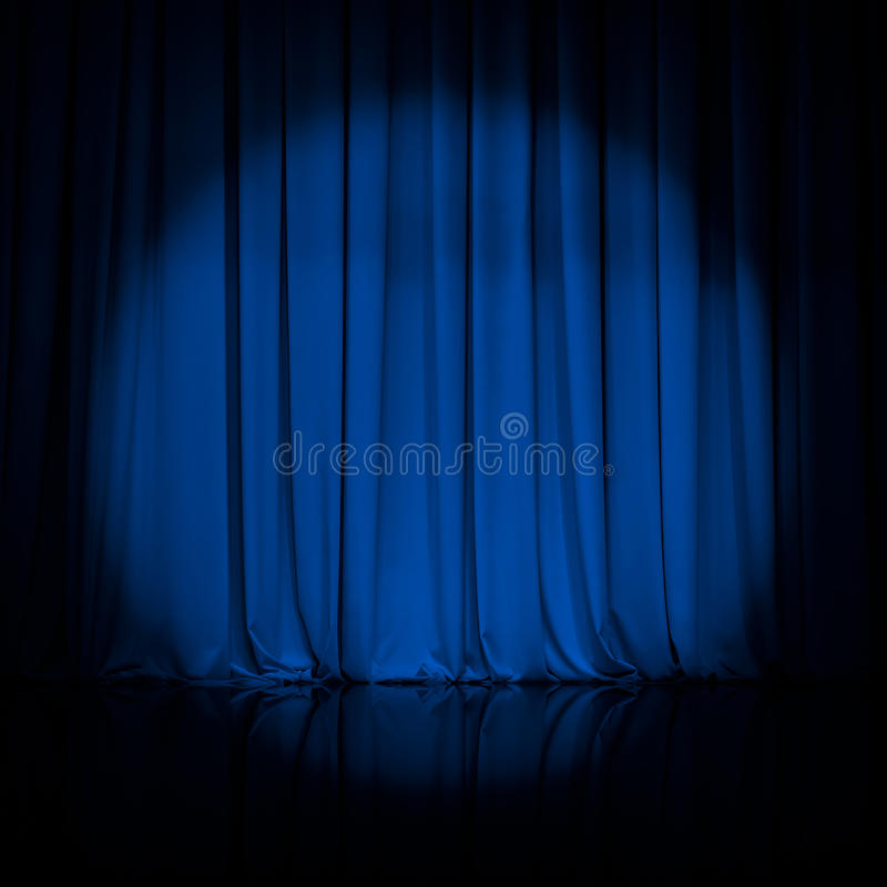 Curtain or drapes blue theater background royalty free stock image