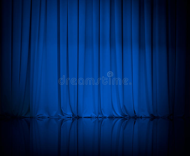 Curtain or drapes blue theater background stock images