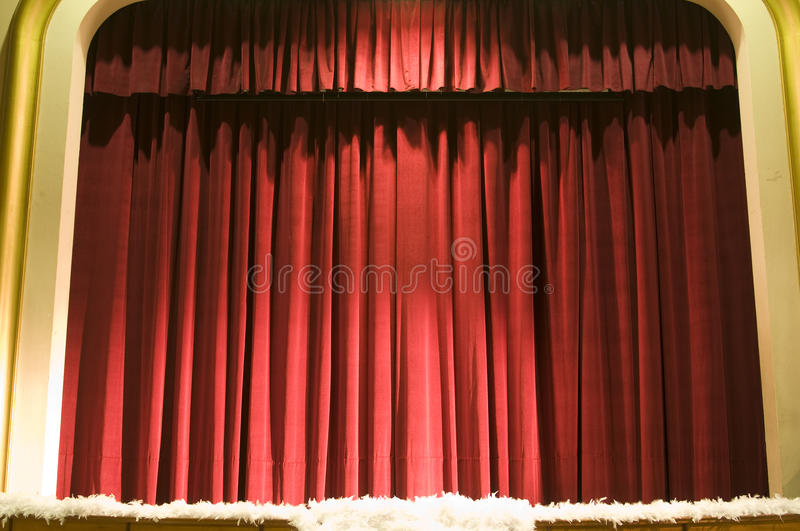 Curtain or drapes red background. In a theatre stock photos