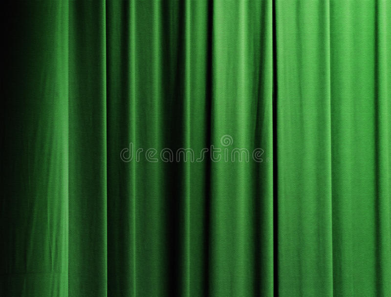 Curtain in green. Vertical drapes of a curtain with green color stock images